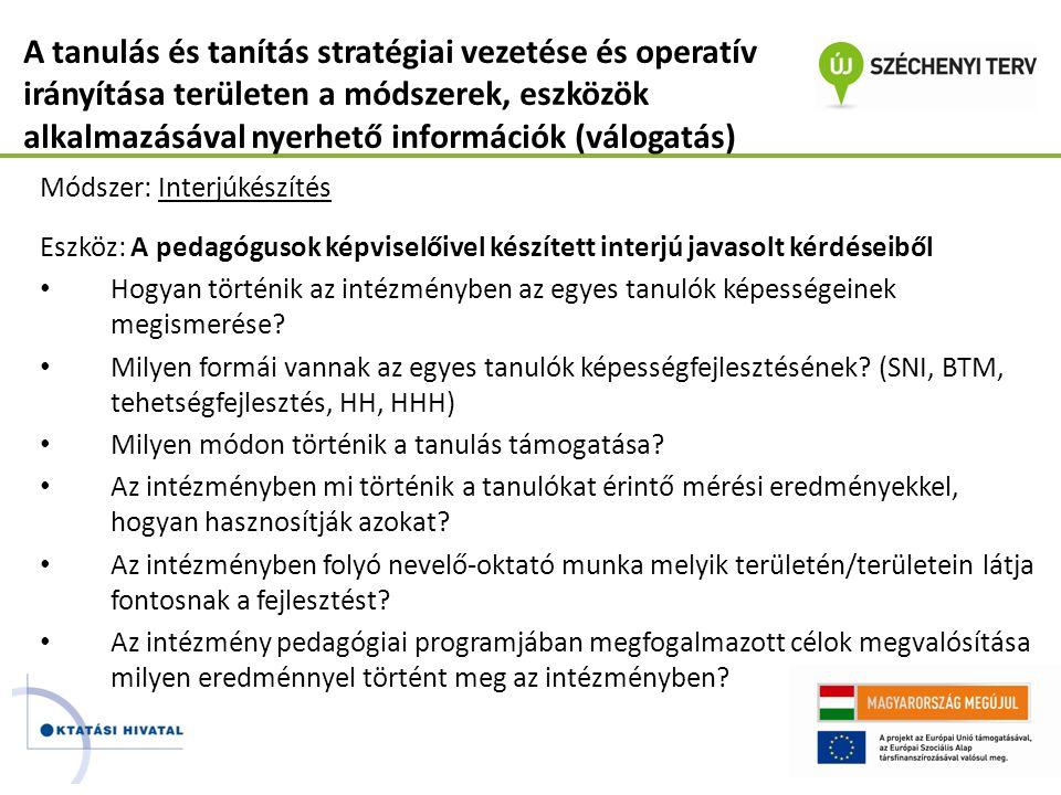 A tanulás és tanítás stratégiai vezetése és operatív irányítása területen a módszerek, eszközök alkalmazásával nyerhető információk (válogatás)