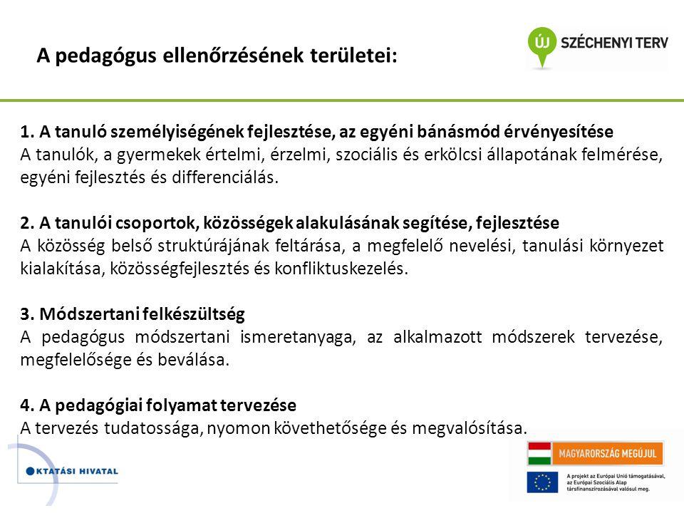 A pedagógus ellenőrzésének területei: