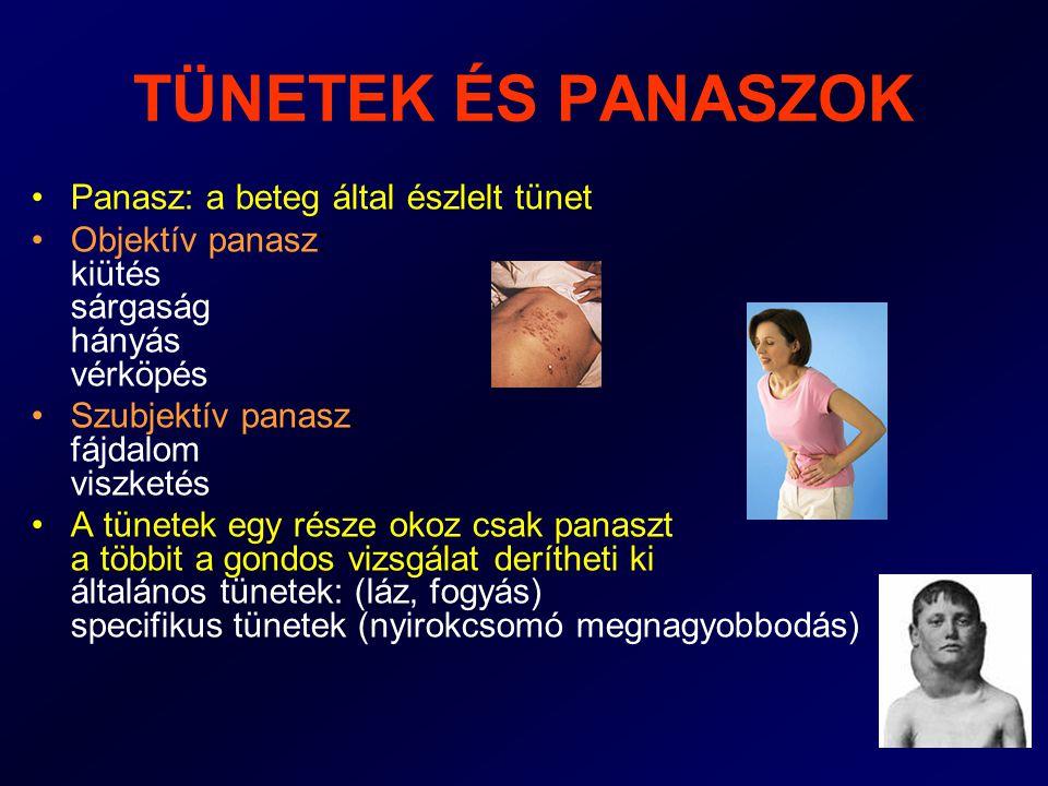 TÜNETEK ÉS PANASZOK Panasz: a beteg által észlelt tünet