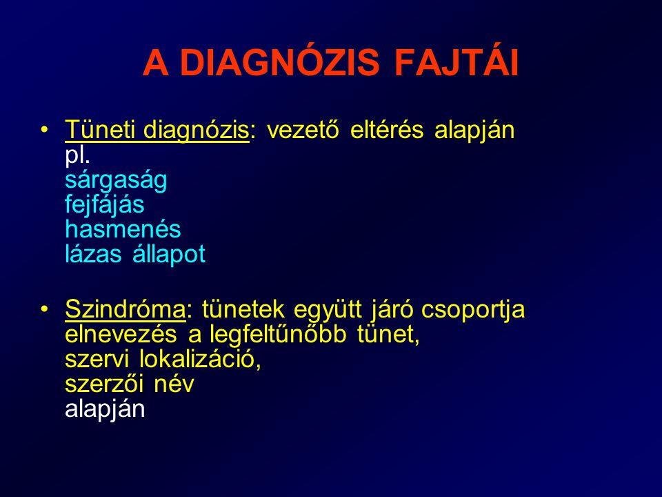 A DIAGNÓZIS FAJTÁI Tüneti diagnózis: vezető eltérés alapján pl. sárgaság fejfájás hasmenés lázas állapot.