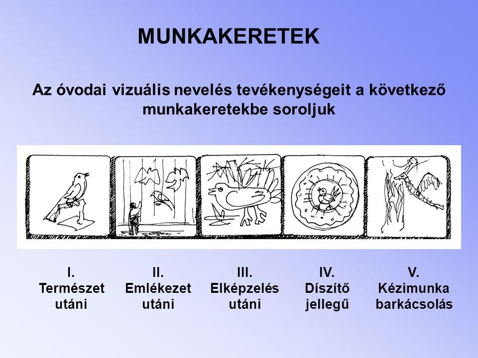MUNKAKERETEK Az óvodai vizuális nevelés tevékenységeit a következő munkakeretekbe soroljuk. I. Természet.