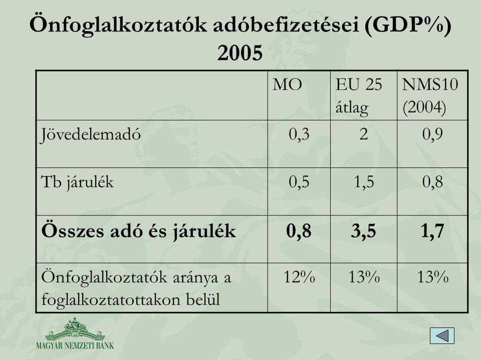Önfoglalkoztatók adóbefizetései (GDP%) 2005