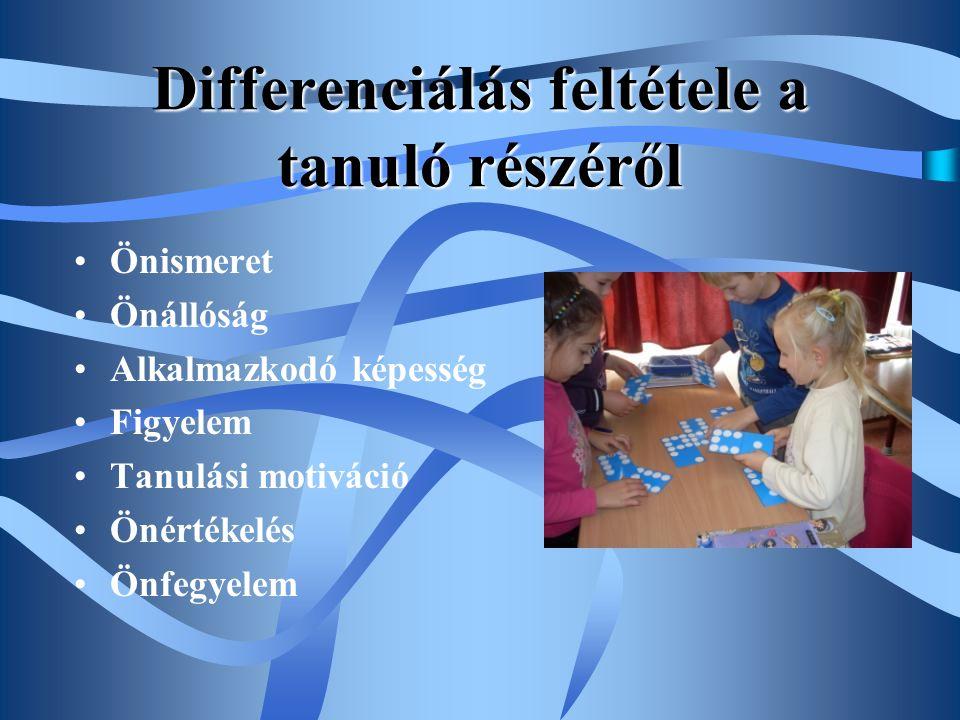 Differenciálás feltétele a tanuló részéről