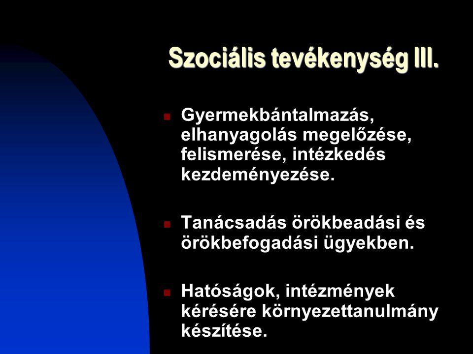 Szociális tevékenység III.
