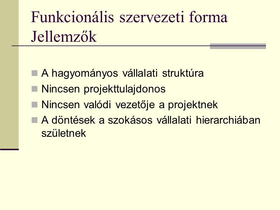 Funkcionális szervezeti forma Jellemzők