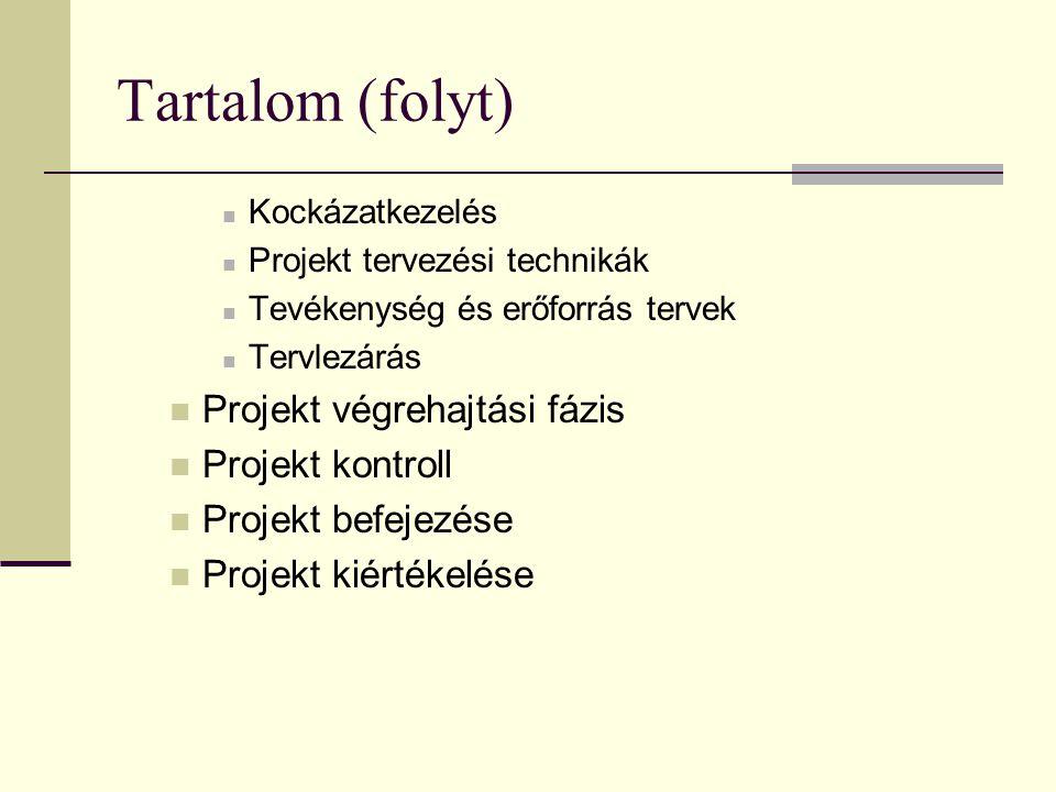 Tartalom (folyt) Projekt végrehajtási fázis Projekt kontroll