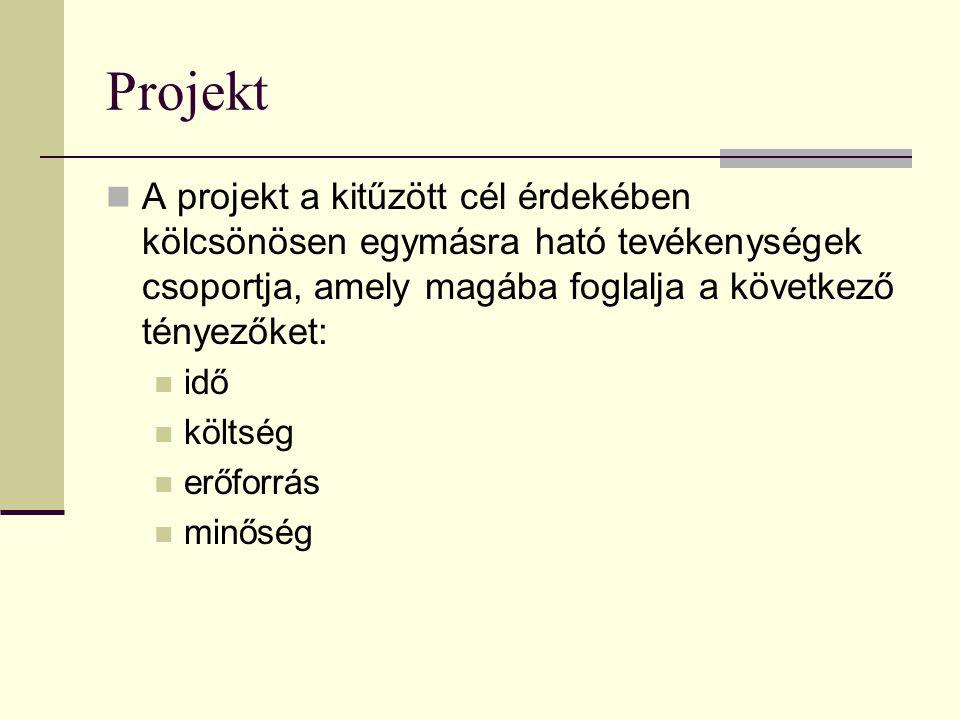 Projekt A projekt a kitűzött cél érdekében kölcsönösen egymásra ható tevékenységek csoportja, amely magába foglalja a következő tényezőket: