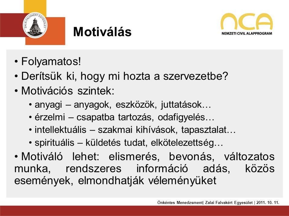 Motiválás Folyamatos! Derítsük ki, hogy mi hozta a szervezetbe