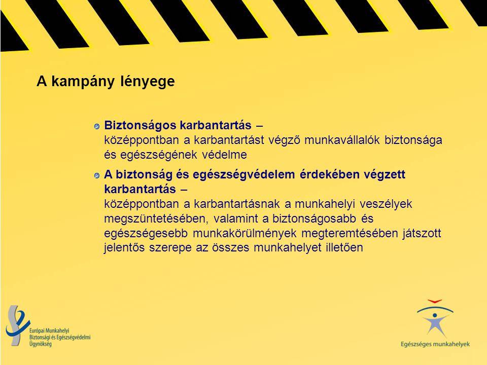 A kampány lényege Biztonságos karbantartás – középpontban a karbantartást végző munkavállalók biztonsága és egészségének védelme.