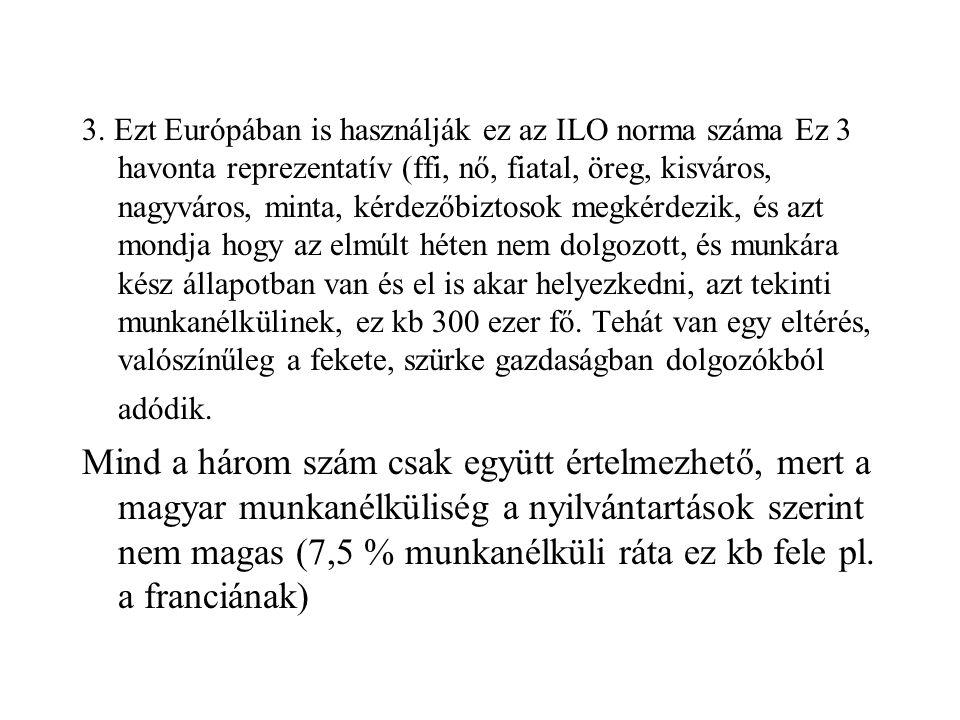 3. Ezt Európában is használják ez az ILO norma száma Ez 3 havonta reprezentatív (ffi, nő, fiatal, öreg, kisváros, nagyváros, minta, kérdezőbiztosok megkérdezik, és azt mondja hogy az elmúlt héten nem dolgozott, és munkára kész állapotban van és el is akar helyezkedni, azt tekinti munkanélkülinek, ez kb 300 ezer fő. Tehát van egy eltérés, valószínűleg a fekete, szürke gazdaságban dolgozókból adódik.