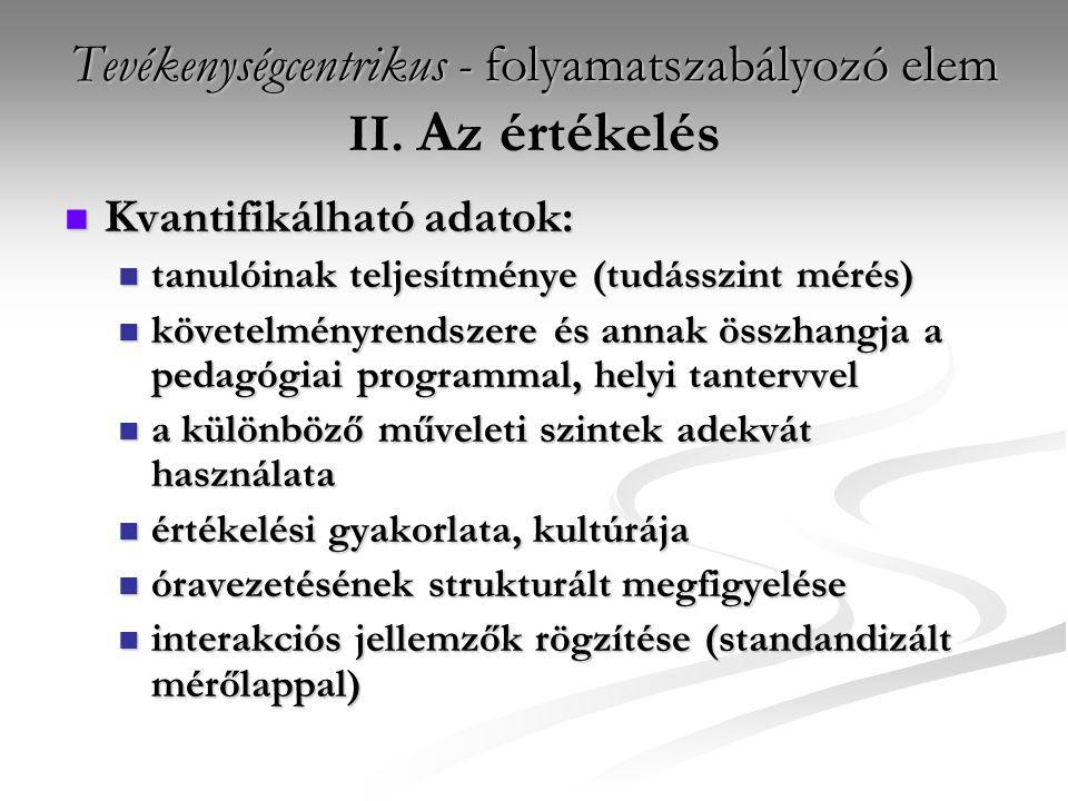 Tevékenységcentrikus - folyamatszabályozó elem II. Az értékelés