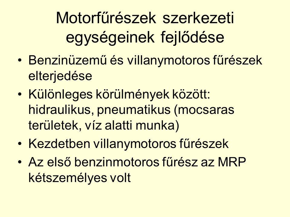 Motorfűrészek szerkezeti egységeinek fejlődése
