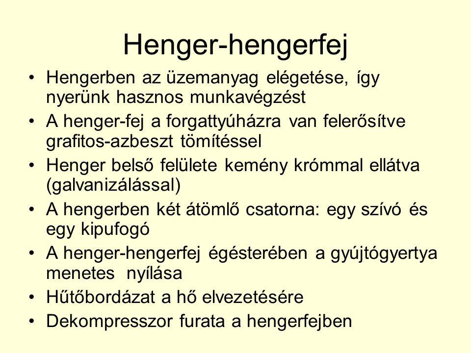 Henger-hengerfej Hengerben az üzemanyag elégetése, így nyerünk hasznos munkavégzést.