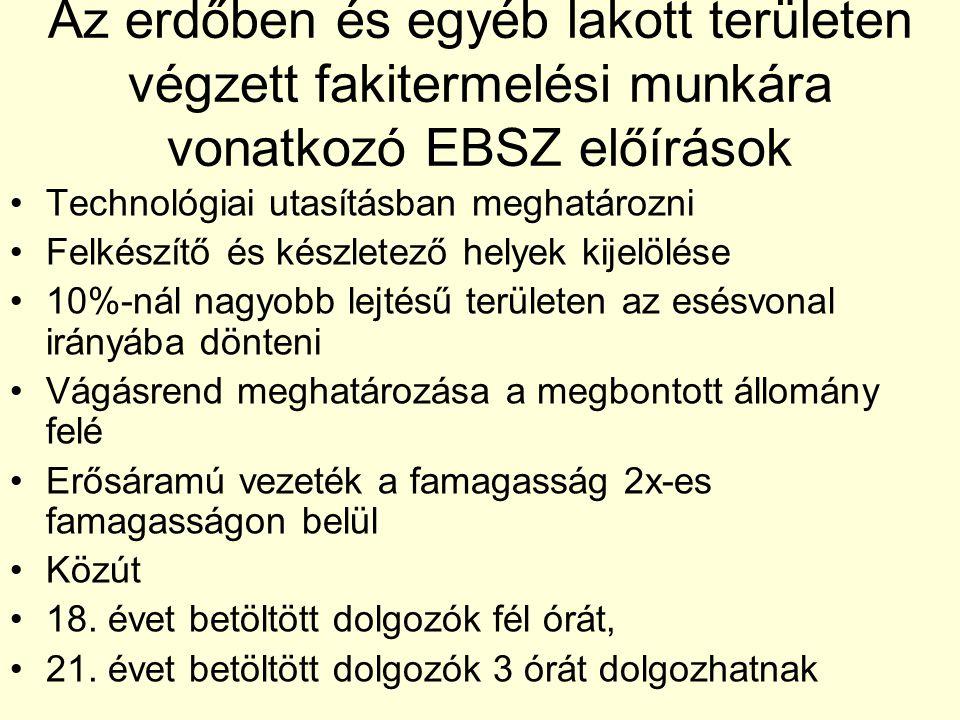 Az erdőben és egyéb lakott területen végzett fakitermelési munkára vonatkozó EBSZ előírások