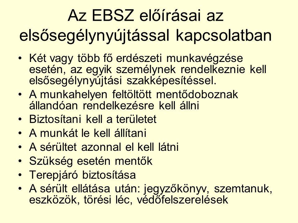 Az EBSZ előírásai az elsősegélynyújtással kapcsolatban