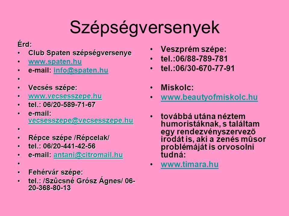 Szépségversenyek Veszprém szépe: tel.:06/88-789-781