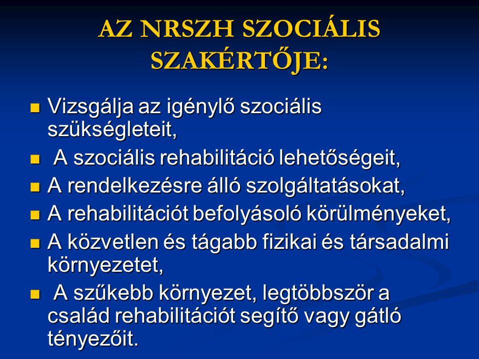 AZ NRSZH SZOCIÁLIS SZAKÉRTŐJE: