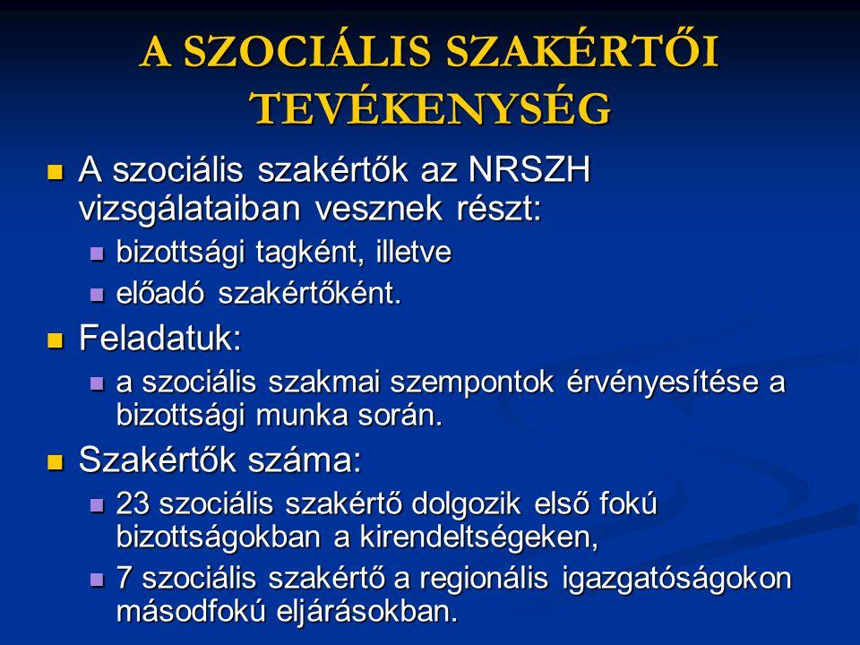 A SZOCIÁLIS SZAKÉRTŐI TEVÉKENYSÉG