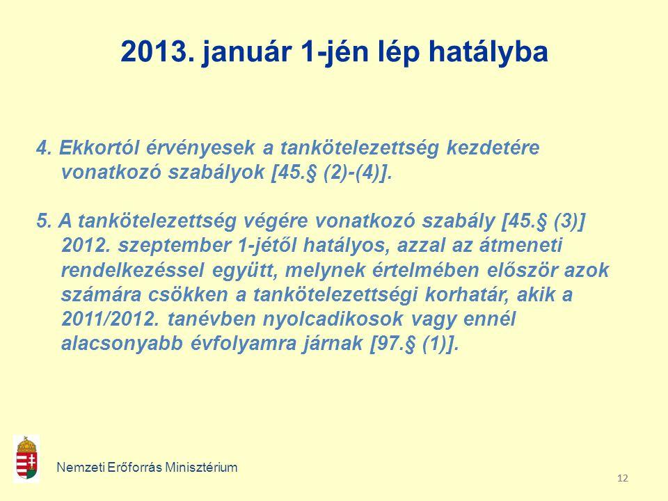 2013. január 1-jén lép hatályba