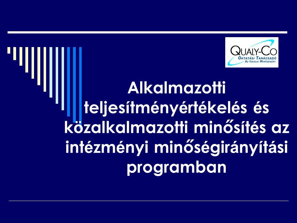 Alkalmazotti teljesítményértékelés és közalkalmazotti minősítés az intézményi minőségirányítási programban
