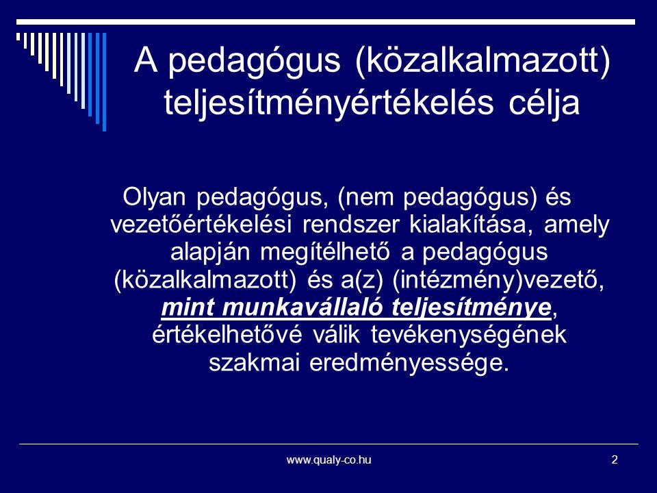 A pedagógus (közalkalmazott) teljesítményértékelés célja