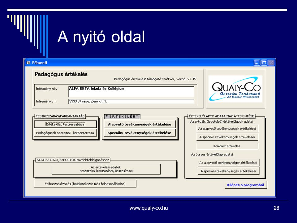 A nyitó oldal www.qualy-co.hu