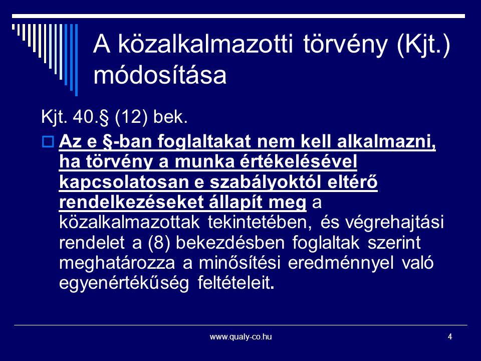 A közalkalmazotti törvény (Kjt.) módosítása