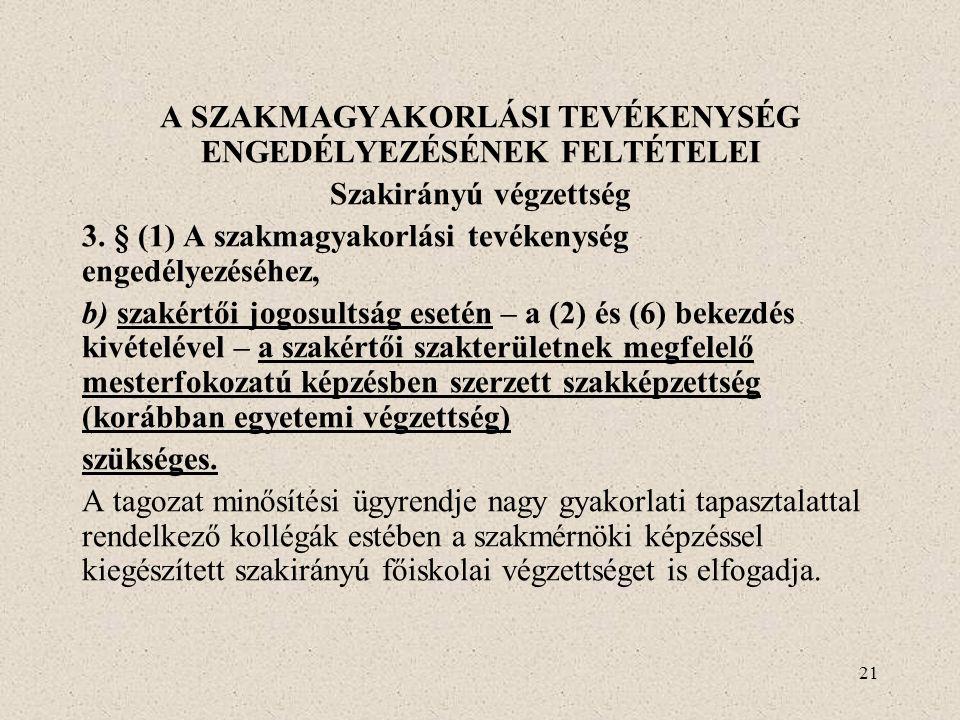 A SZAKMAGYAKORLÁSI TEVÉKENYSÉG ENGEDÉLYEZÉSÉNEK FELTÉTELEI