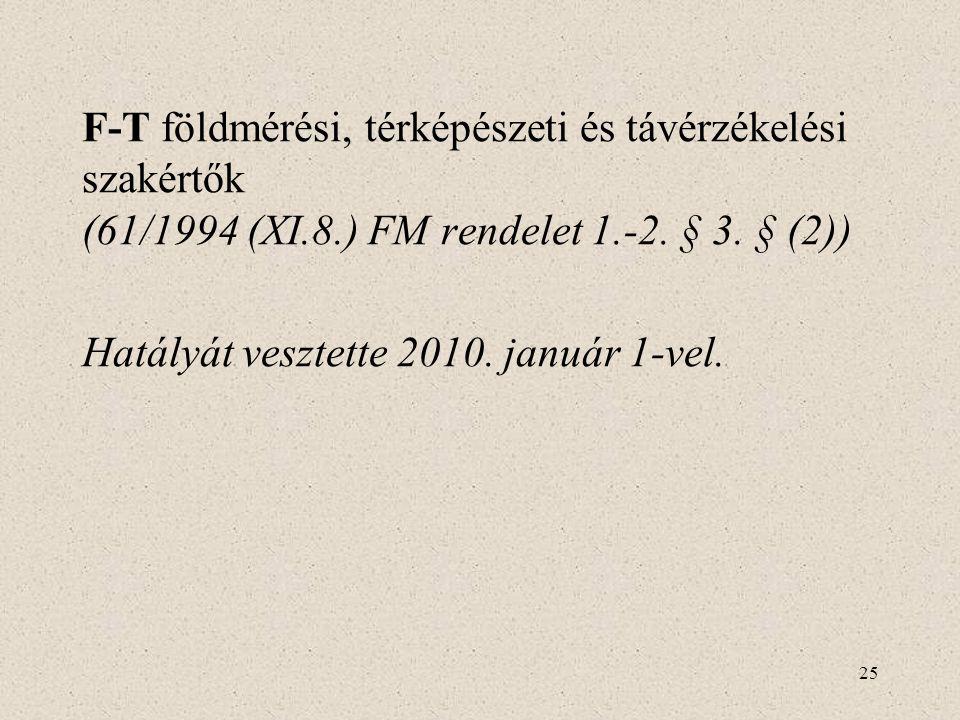 F-T földmérési, térképészeti és távérzékelési szakértők (61/1994 (XI.8.) FM rendelet 1.-2. § 3. § (2))