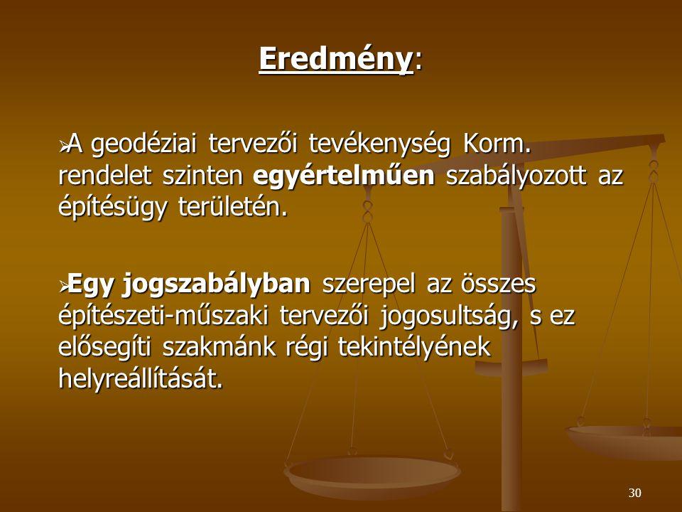 Eredmény: A geodéziai tervezői tevékenység Korm. rendelet szinten egyértelműen szabályozott az építésügy területén.