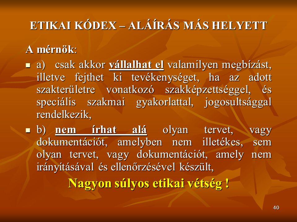 ETIKAI KÓDEX – ALÁÍRÁS MÁS HELYETT Nagyon súlyos etikai vétség !