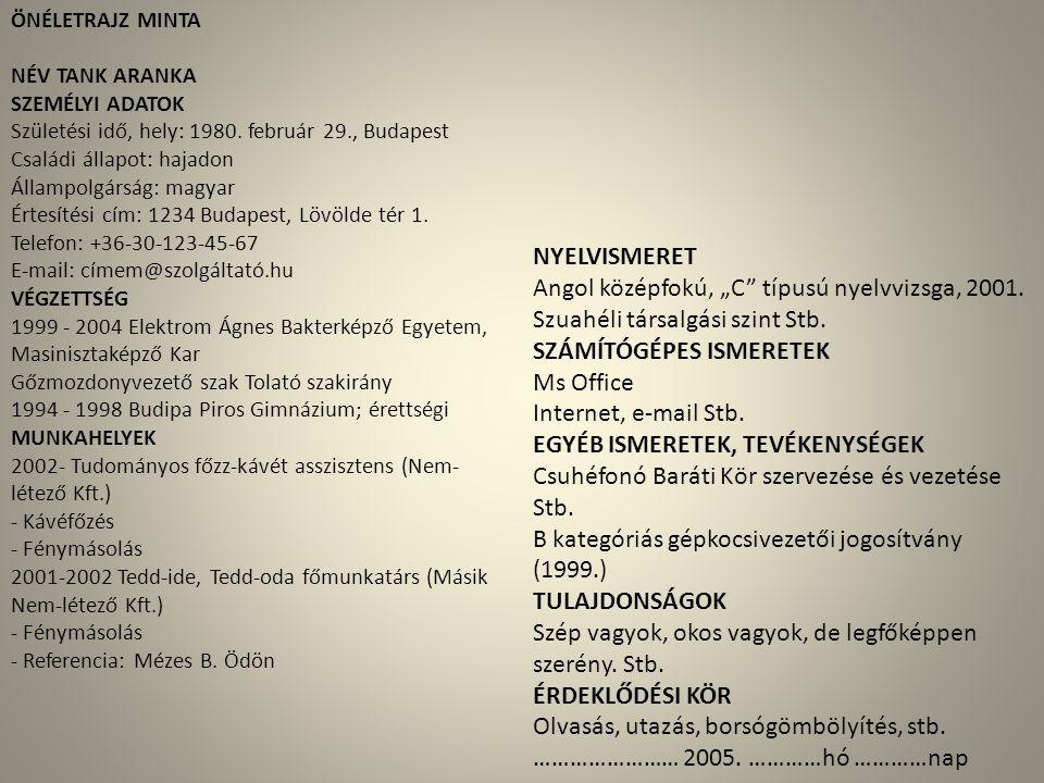 """Angol középfokú, """"C típusú nyelvvizsga, 2001."""