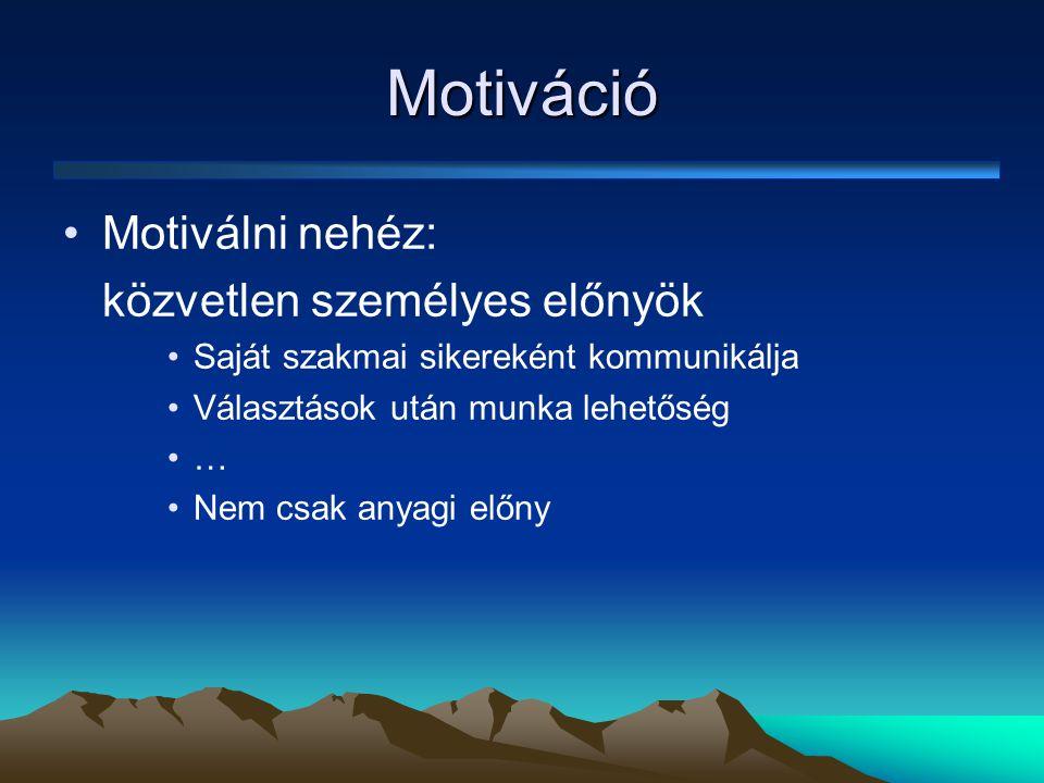 Motiváció Motiválni nehéz: közvetlen személyes előnyök