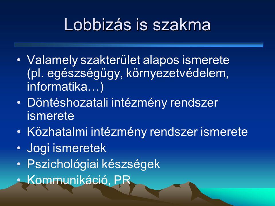 Lobbizás is szakma Valamely szakterület alapos ismerete (pl. egészségügy, környezetvédelem, informatika…)