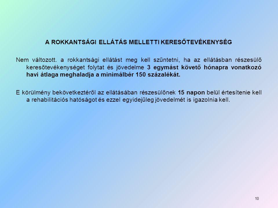 A ROKKANTSÁGI ELLÁTÁS MELLETTI KERESŐTEVÉKENYSÉG Nem változott
