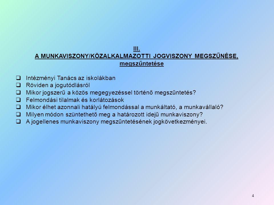 A MUNKAVISZONY/KÖZALKALMAZOTTI JOGVISZONY MEGSZŰNÉSE, megszűntetése