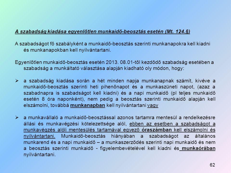 A szabadság kiadása egyenlőtlen munkaidő-beosztás esetén (Mt. 124.§)