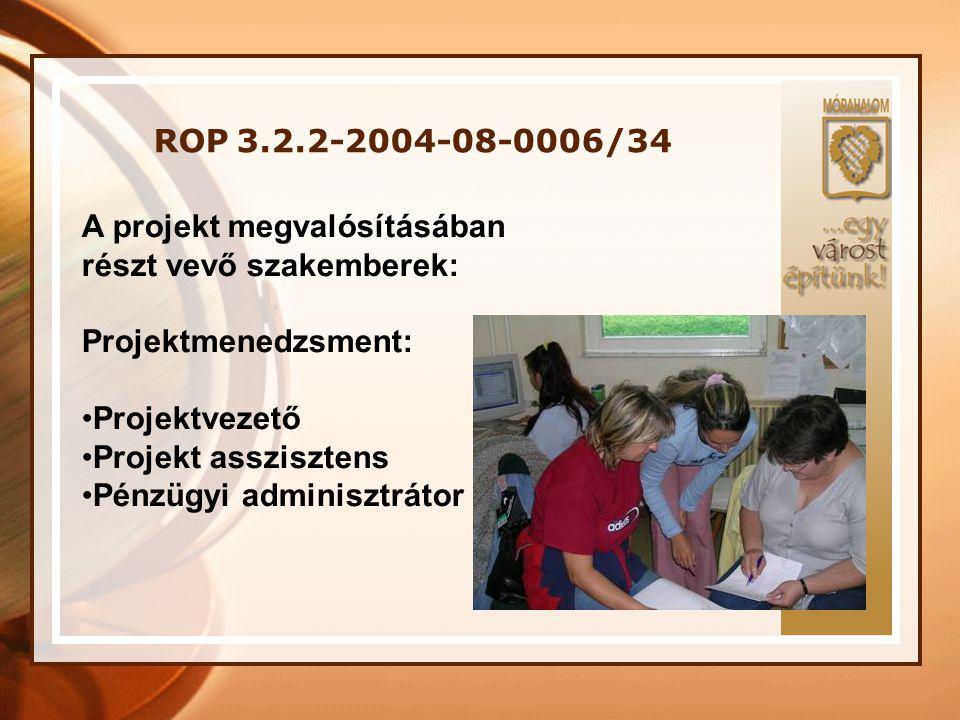 ROP 3.2.2-2004-08-0006/34 A projekt megvalósításában. részt vevő szakemberek: Projektmenedzsment: