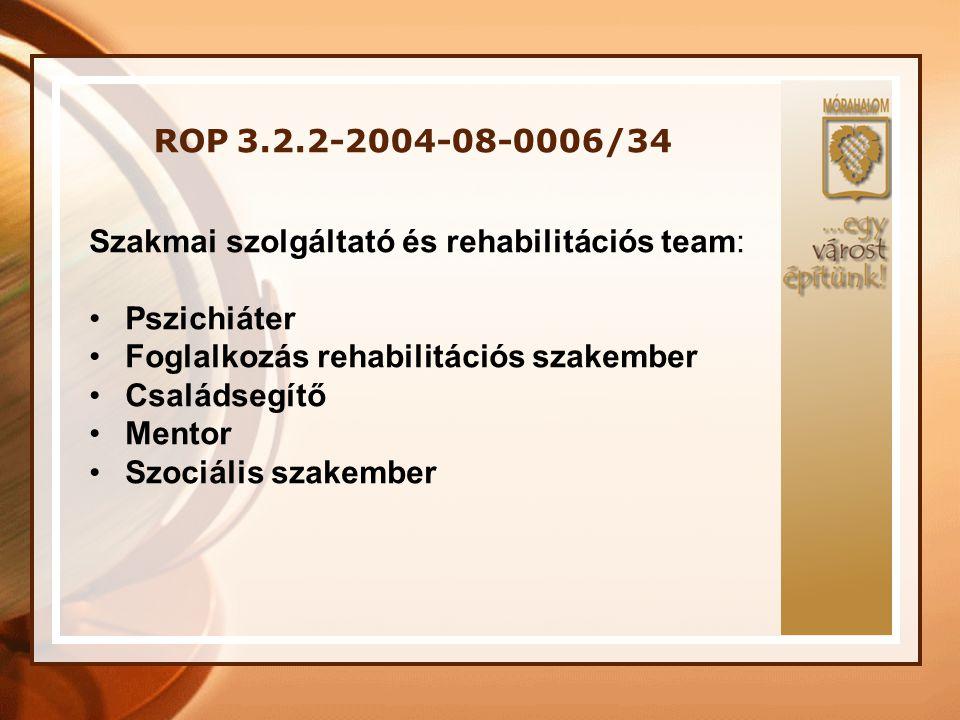 ROP 3.2.2-2004-08-0006/34 Szakmai szolgáltató és rehabilitációs team: Pszichiáter. Foglalkozás rehabilitációs szakember.