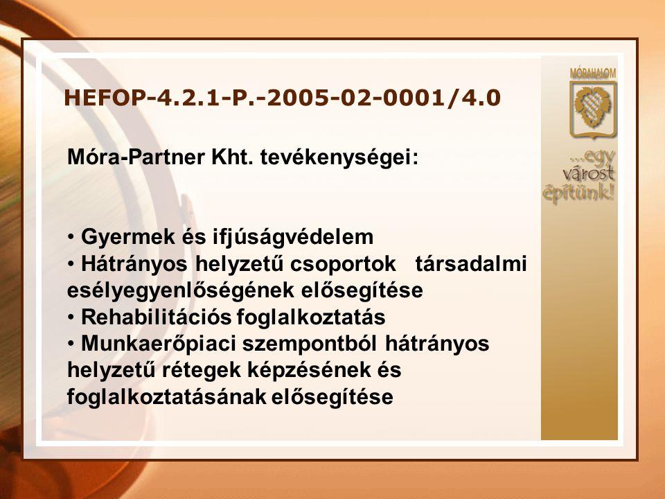 HEFOP-4.2.1-P.-2005-02-0001/4.0 Móra-Partner Kht. tevékenységei: Gyermek és ifjúságvédelem.