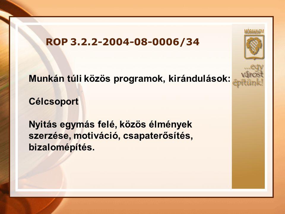 ROP 3.2.2-2004-08-0006/34 Munkán túli közös programok, kirándulások: Célcsoport.