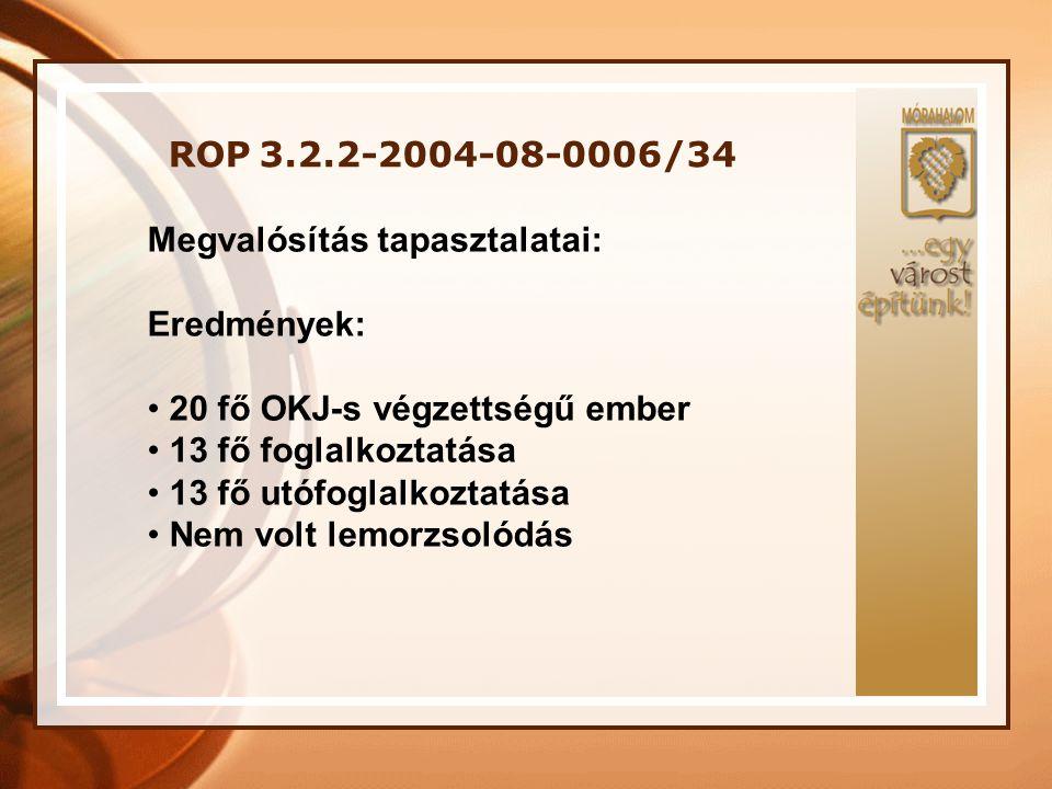 ROP 3.2.2-2004-08-0006/34 Megvalósítás tapasztalatai: Eredmények: 20 fő OKJ-s végzettségű ember. 13 fő foglalkoztatása.