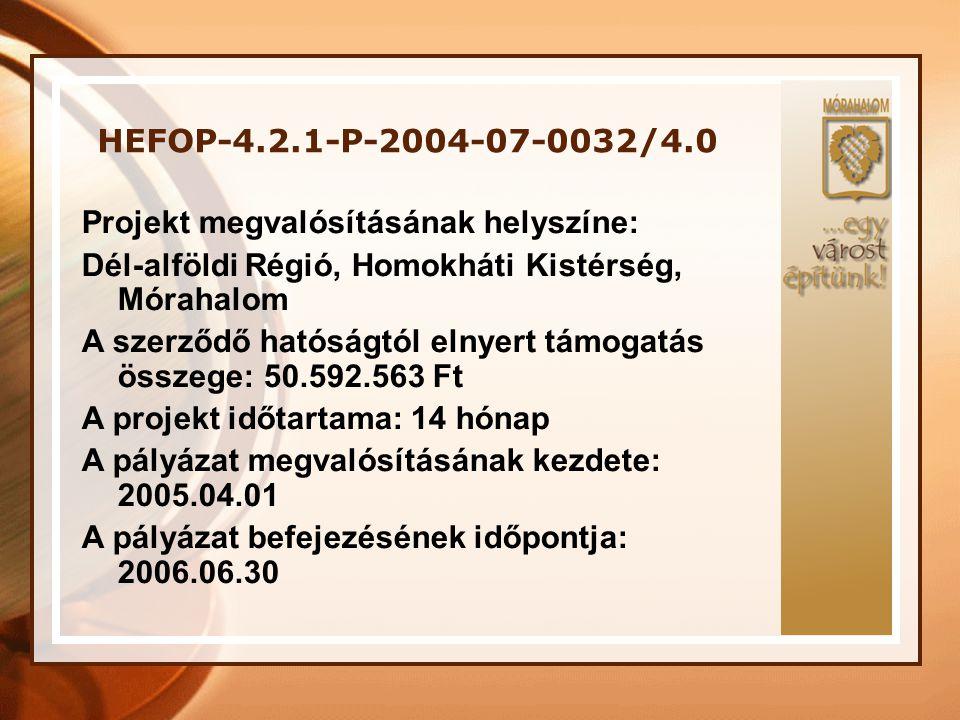 HEFOP-4.2.1-P-2004-07-0032/4.0 Projekt megvalósításának helyszíne: Dél-alföldi Régió, Homokháti Kistérség, Mórahalom.