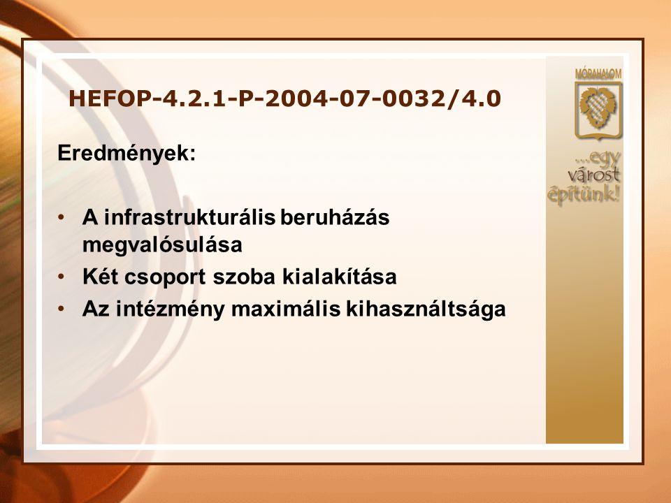 HEFOP-4.2.1-P-2004-07-0032/4.0 Eredmények: A infrastrukturális beruházás megvalósulása. Két csoport szoba kialakítása.