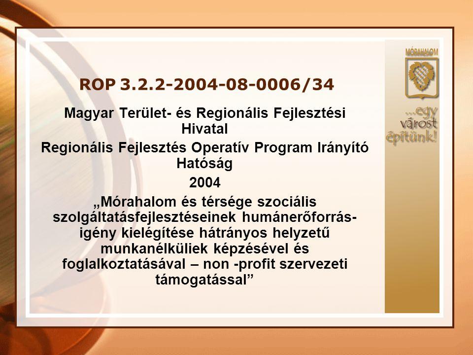 ROP 3.2.2-2004-08-0006/34 Magyar Terület- és Regionális Fejlesztési Hivatal. Regionális Fejlesztés Operatív Program Irányító Hatóság.