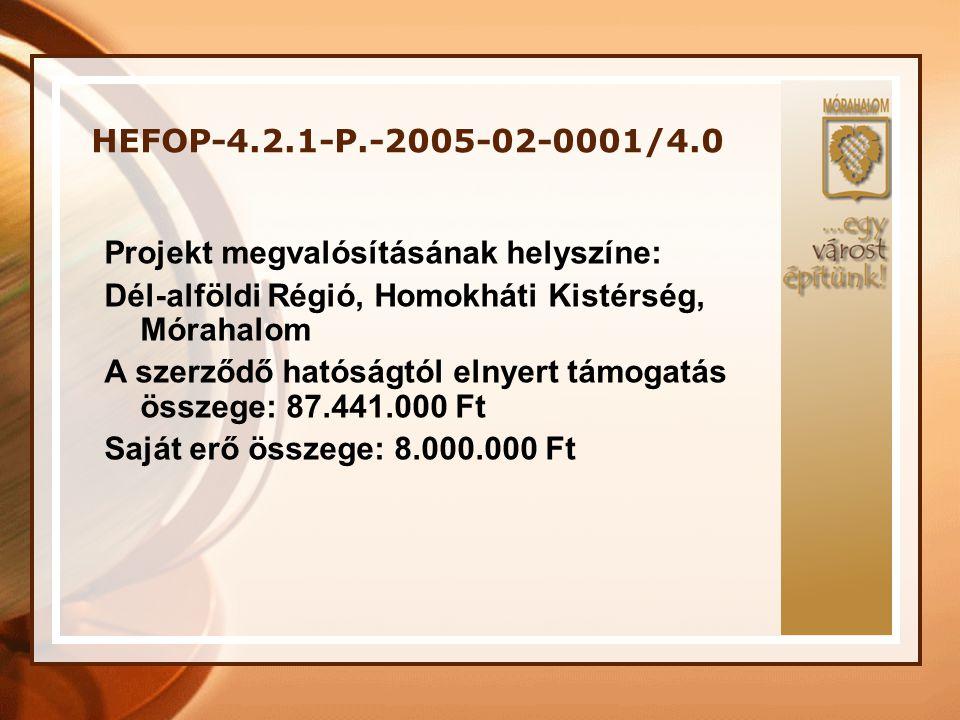 HEFOP-4.2.1-P.-2005-02-0001/4.0 Projekt megvalósításának helyszíne: Dél-alföldi Régió, Homokháti Kistérség, Mórahalom.