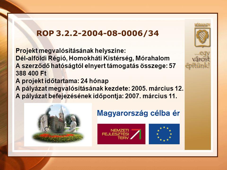 ROP 3.2.2-2004-08-0006/34 Projekt megvalósításának helyszíne: