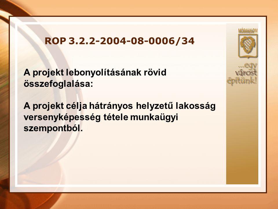 ROP 3.2.2-2004-08-0006/34 A projekt lebonyolításának rövid összefoglalása: