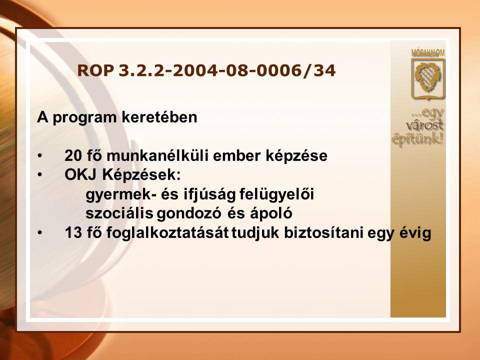 ROP 3.2.2-2004-08-0006/34 A program keretében. 20 fő munkanélküli ember képzése. OKJ Képzések: gyermek- és ifjúság felügyelői.