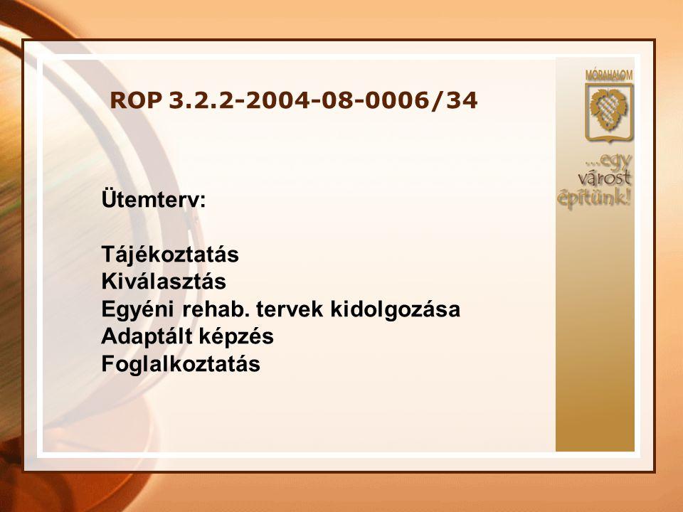 ROP 3.2.2-2004-08-0006/34 Ütemterv: Tájékoztatás Kiválasztás Egyéni rehab.